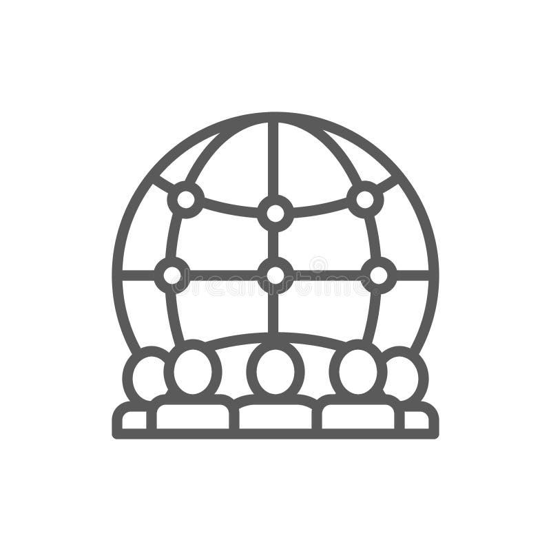 Internationaal team van het pictogram van de arbeiderslijn stock illustratie