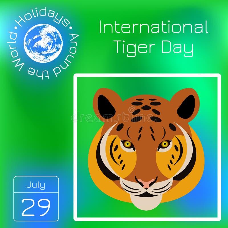 Internationaal Tiger Day 29 juli Het wilde zoogdier is een dier De stijl van het beeldverhaal Reekskalender Vakantie rond de Were royalty-vrije illustratie