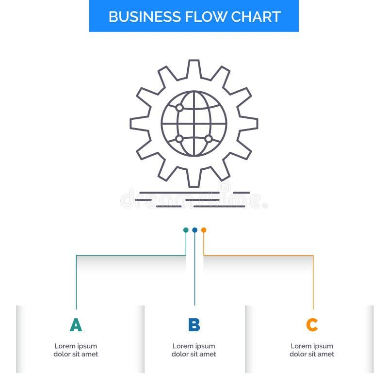 internationaal, zaken, bol, wereldwijd, het Ontwerp toestel van de Bedrijfsstroomgrafiek met 3 Stappen Lijnpictogram voor Present stock illustratie
