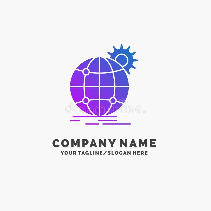 internationaal, zaken, bol, wereldwijd, toestel Purpere Zaken Logo Template Plaats voor Tagline stock illustratie