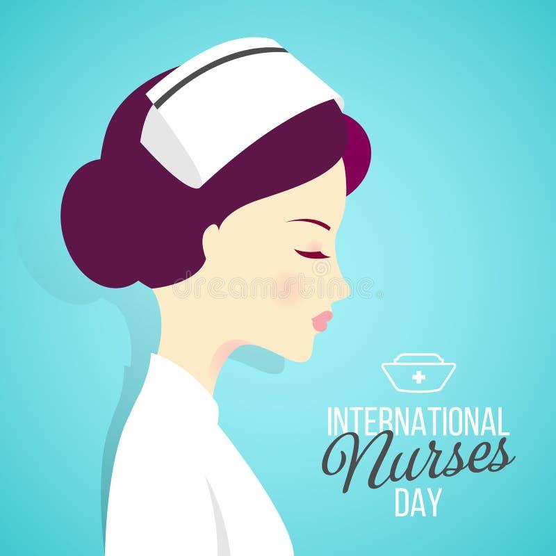 Internationak vårdar dagbanret med kvinnasjuksköterskor på blå bakgrund royaltyfri illustrationer