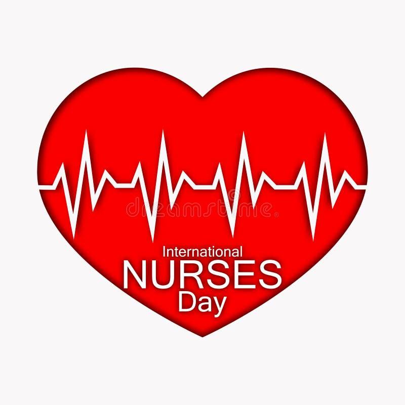 International нянчит иллюстрацию дня с красными сердцем и биением сердца Прочешите или конструируйте для докторов, медсестер и ме иллюстрация вектора