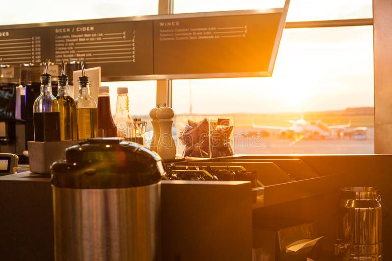 International aerport airport cafe with panoramic window view.  royalty free stock photo