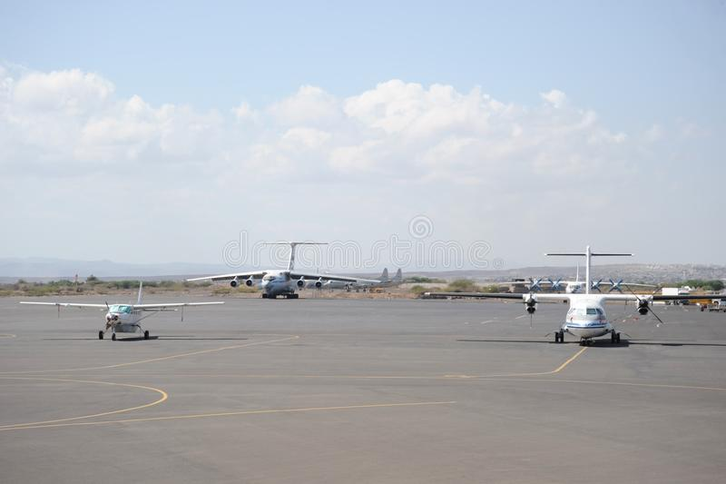 International airport in the city of Djibouti. AMBOULI , DJIBOUTI - JANUARY 7, 2010: Djibouti– International Airport is a joint civilian/military-use royalty free stock photo