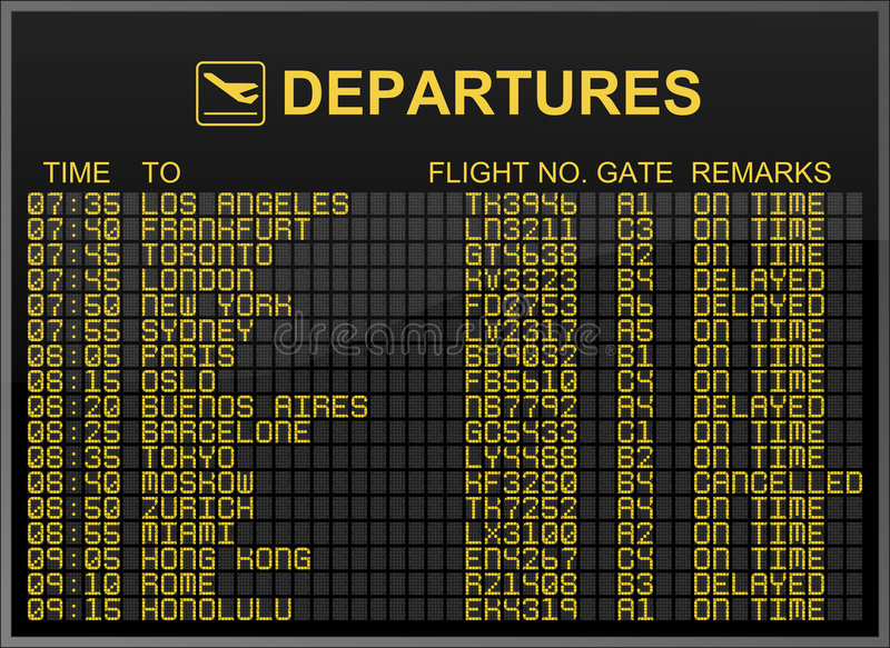 International Airport Departures Board. This illustration shows an international airport departures board and suggests traveling around the world stock illustration