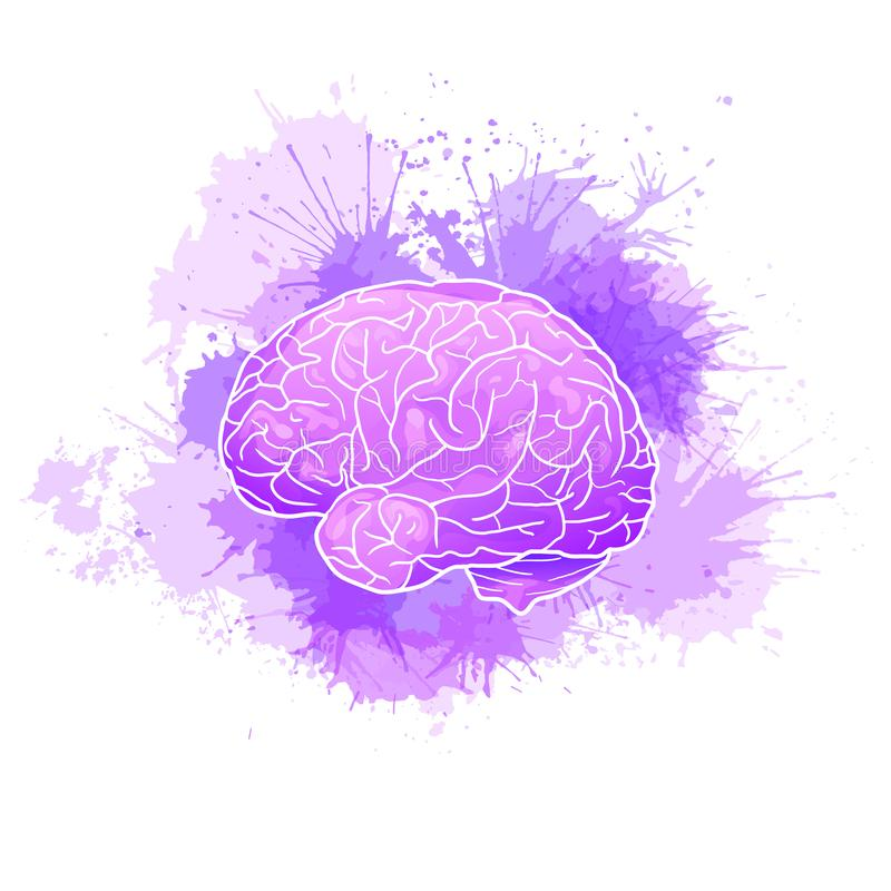 International Alzheimers Day. Human brain with purple watercolor stains. Disease and extinction. Vector cartoon illustration royalty free illustration