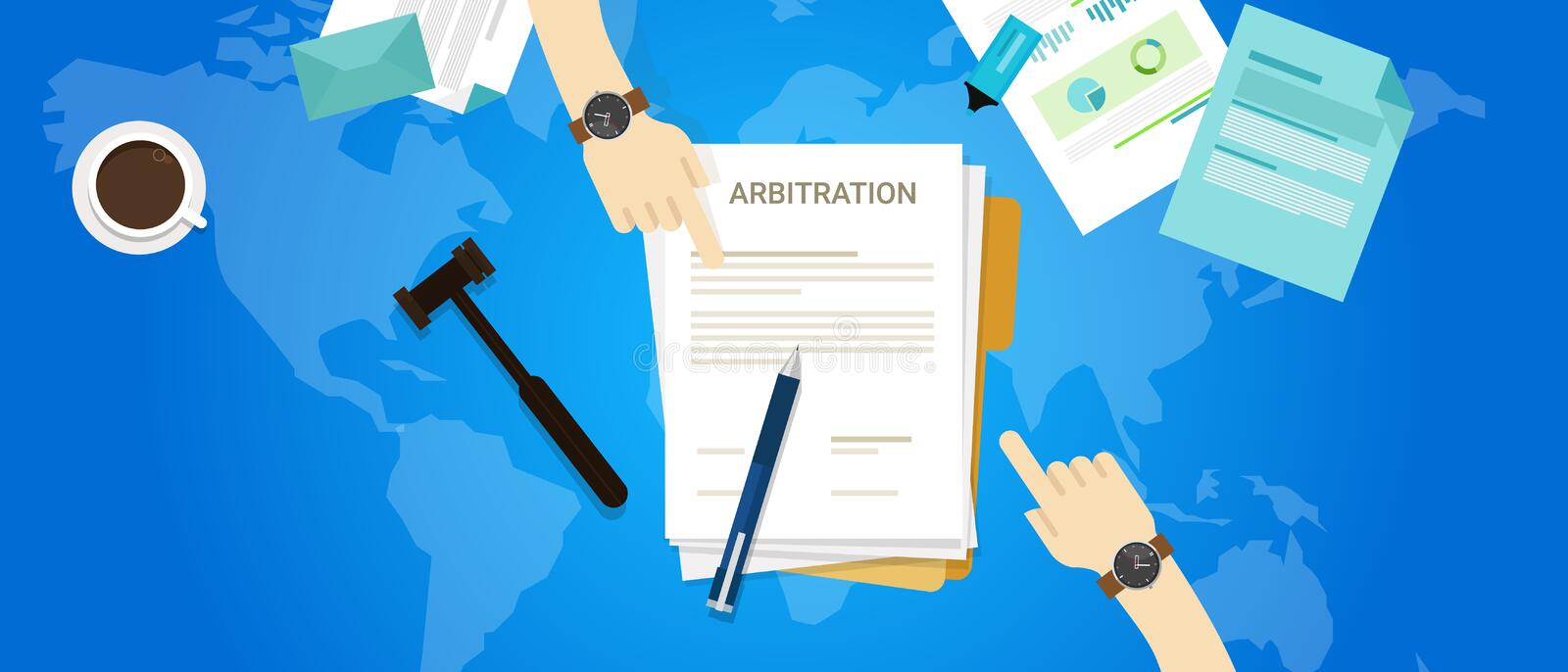 International arbitration mediation court. Global justice vector royalty free illustration