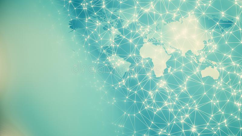 International bank connections, modern geometric lines and dots with world map royalty free stock photography