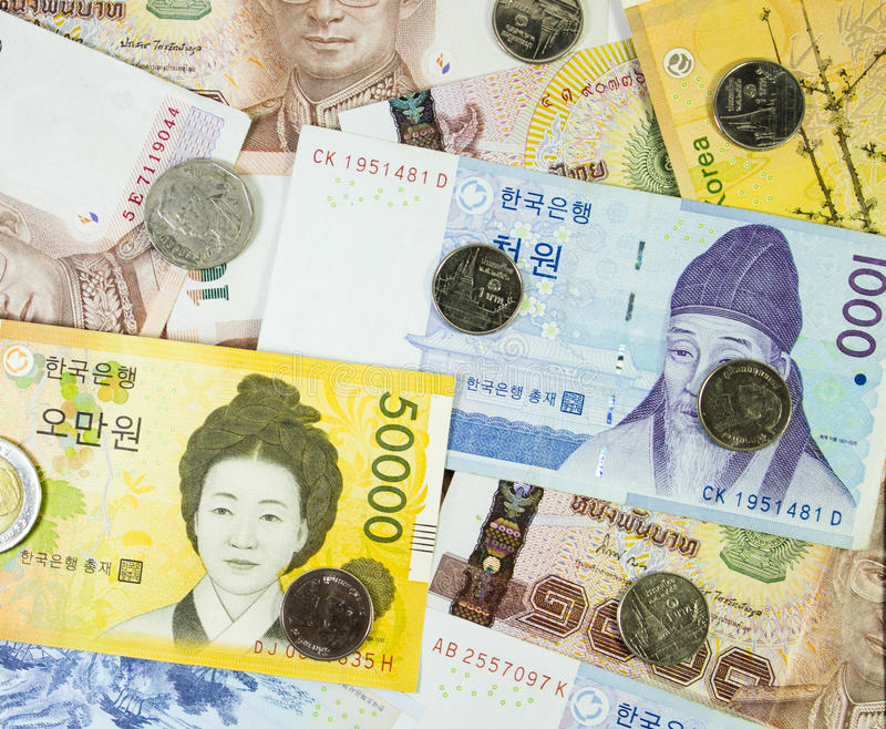 Download International Banknote Korea, Thai Stock Photo - Image: 41025259