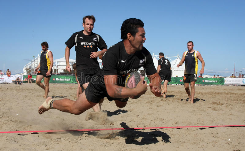 Download INTERNATIONAL BEACH RUGBY - NEW ZEALAND Editorial Stock Image - Image of ball, field: 10314449