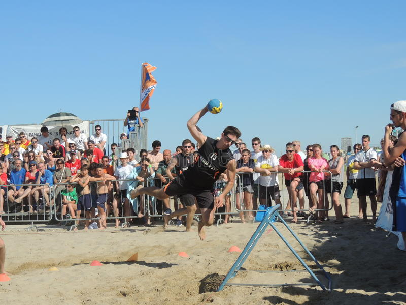 Beach TchoukBall Festival 2015. Athletes playing in Beach Tchoukball Slam Tournament. The final match : Austria Vs. Germany Beach TchoukBall Festival - Viserba royalty free stock photography