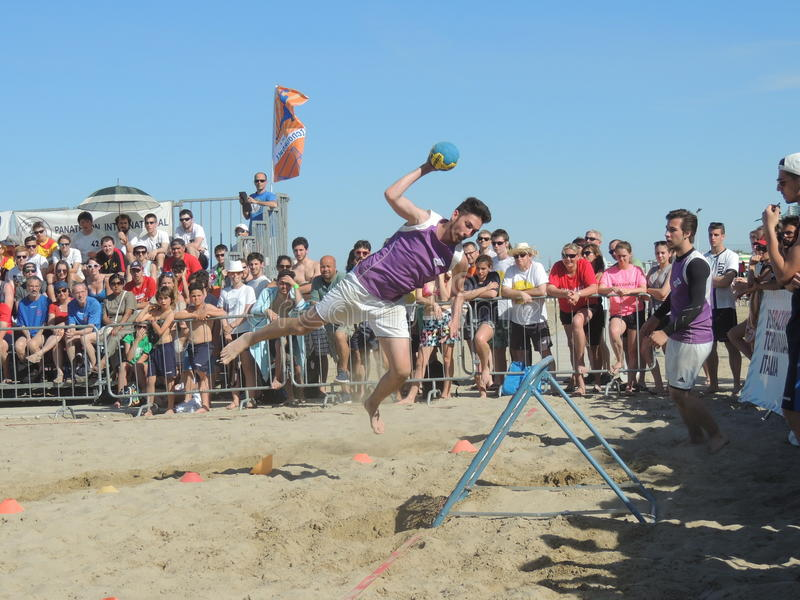 Beach TchoukBall Festival 2015. Athletes playing in Beach Tchoukball Slam Tournament. The final match : Austria Vs. Germany Beach TchoukBall Festival - Viserba royalty free stock images