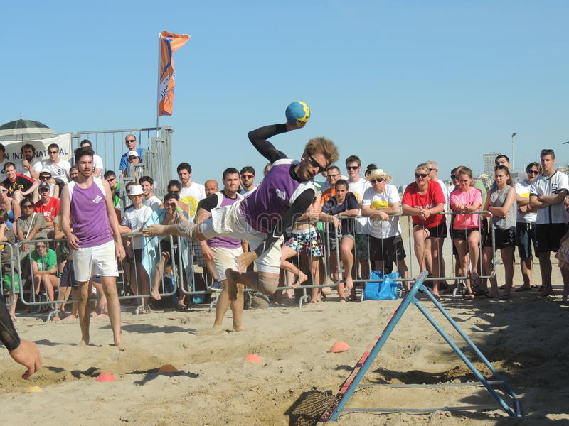 Beach TchoukBall Festival 2015. Athletes playing in Beach Tchoukball Slam Tournament. The final match : Austria Vs. Germany Beach TchoukBall Festival - Viserba stock images