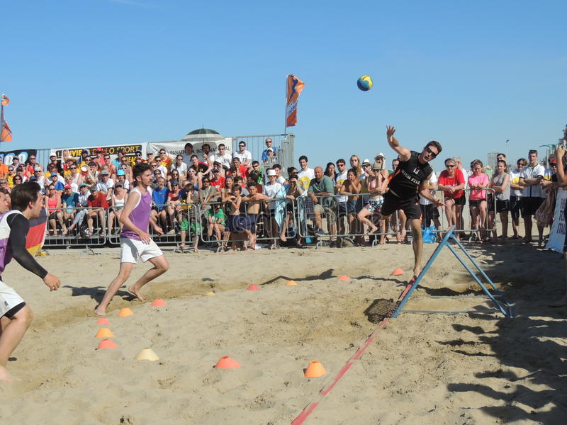 Beach TchoukBall Festival 2015. Athletes playing in Beach Tchoukball Slam Tournament. The final match : Austria Vs. Germany Beach TchoukBall Festival - Viserba royalty free stock image