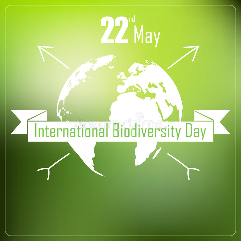 International biodiversity day background with earth and ribbon a shape typography royalty free illustration