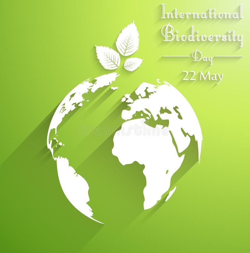 International biodiversity day background with leaves of shape silhouettes royalty free illustration