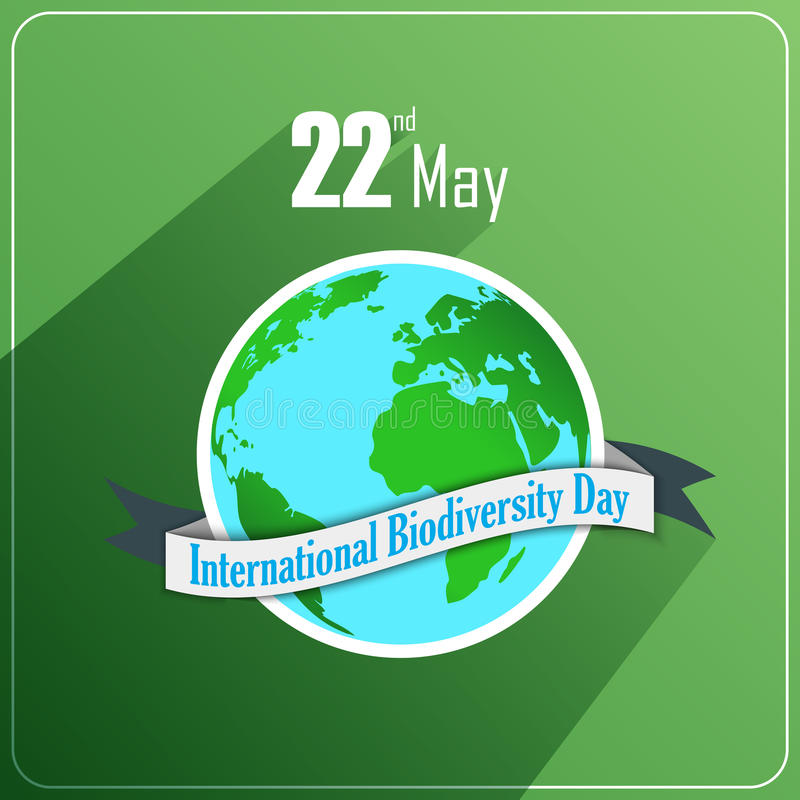 International Biodiversity Day concept with globe and ribbon on green background stock illustration