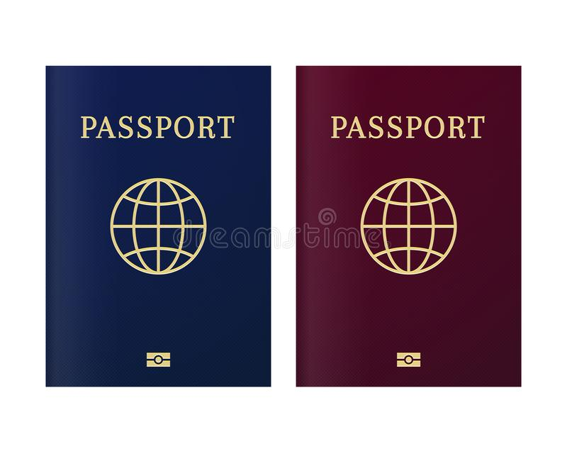 International biometric passport cover page. Blue and red top page of a citizen ID document stock illustration