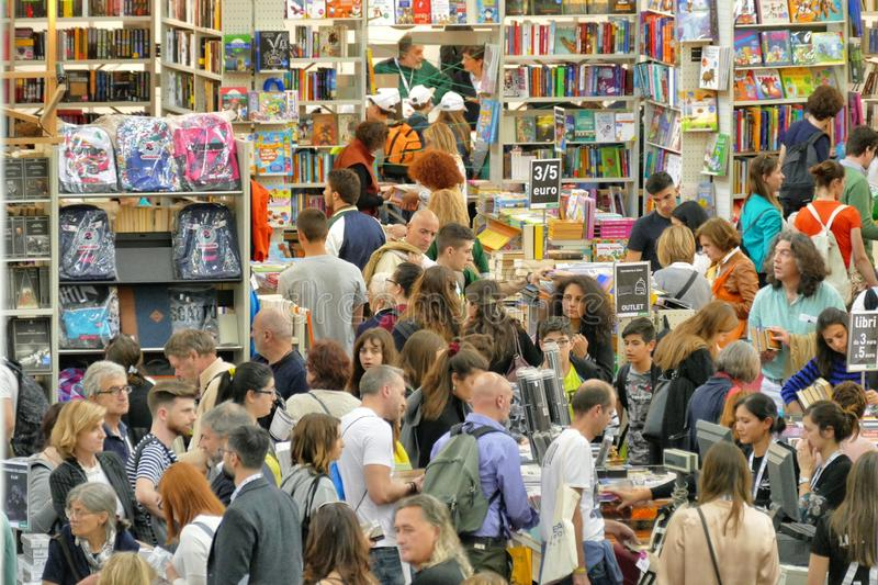International book fair is the main cultural event of the season. Turin Italy May 10 2019 stock photography