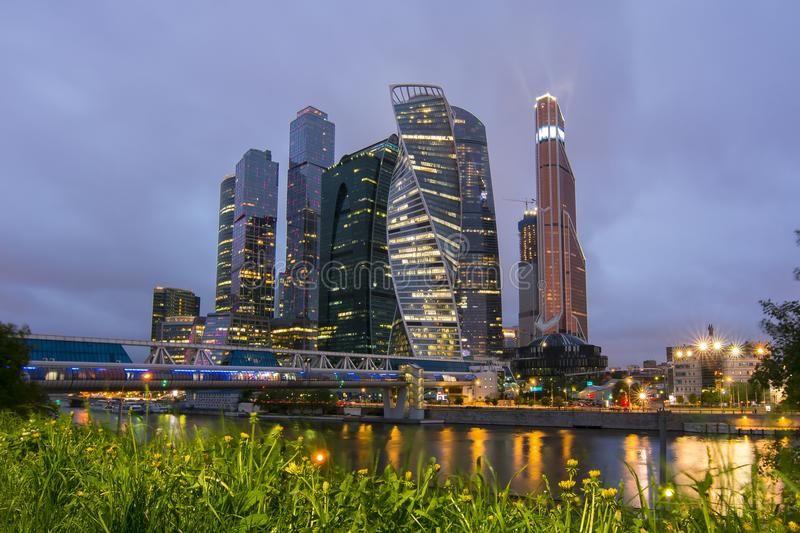 International Business Center Moscow City at night, Russia royalty free stock photography