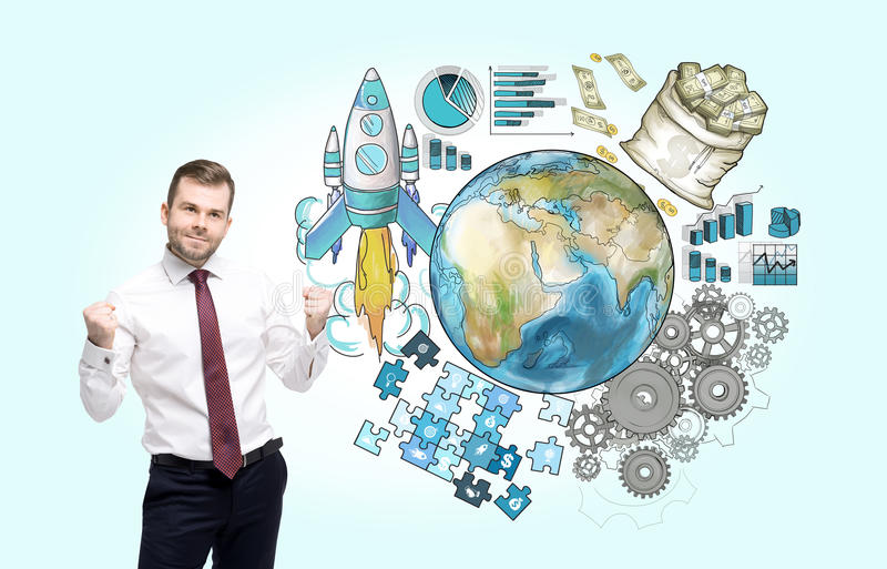 International business cooperation. Elements of this image furnished by NASA. royalty free stock photos