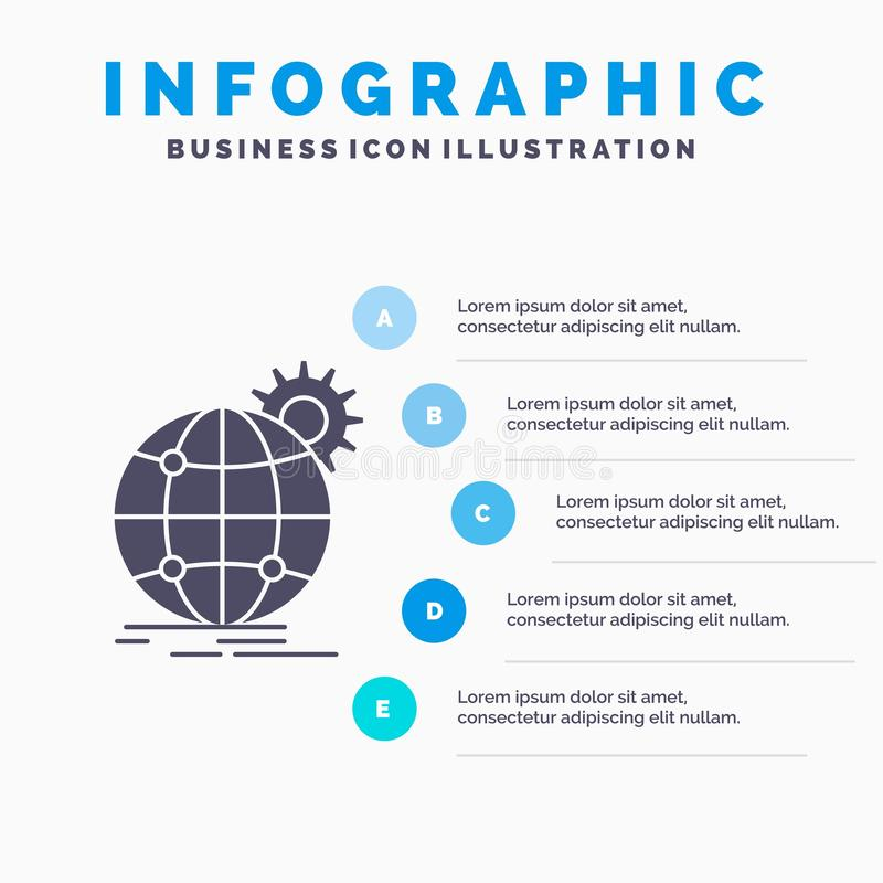 international, business, globe, world wide, gear Infographics Template for Website and Presentation. GLyph Gray icon with Blue vector illustration