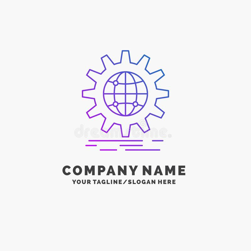 international, business, globe, world wide, gear Purple Business Logo Template. Place for Tagline vector illustration