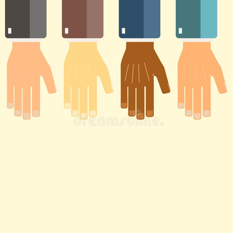 International business group united hands together. Joining teamwork concepts. Collaborative project. Vector illustration. International business group united vector illustration