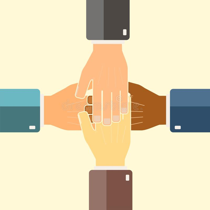 International business group united hands together. Joining teamwork concepts. Collaborative project. Vector illustration royalty free stock photography