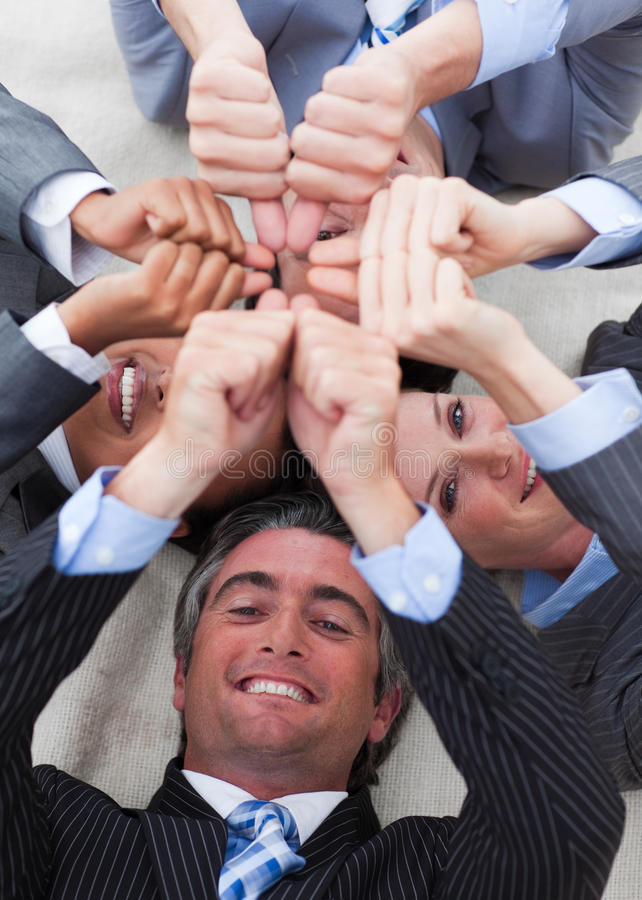 International business people with thumbs royalty free stock photography