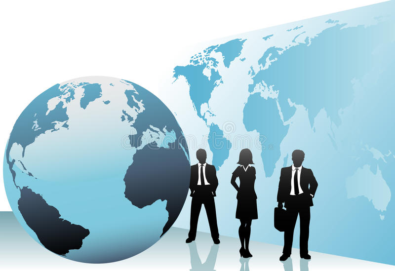International business people world map globe stock illustration
