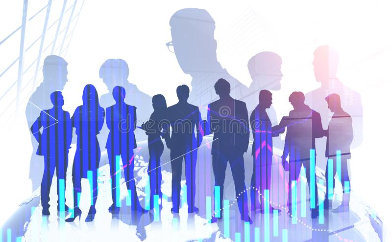 International business team concept, graphs stock photography