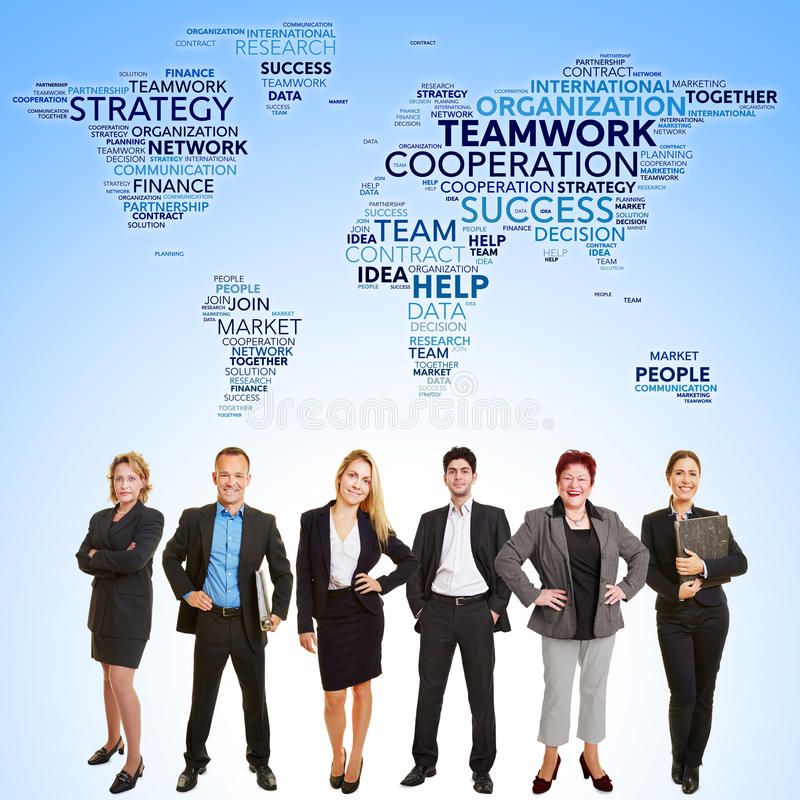 International business teamwork cooperation. With many lawyers stand in front of world map royalty free stock photography