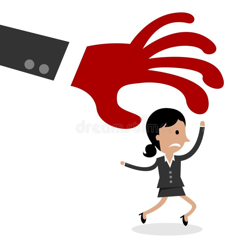 International Business Woman Being Chased By Corporate Fears. Symbol Of a Big Red Hand stock illustration