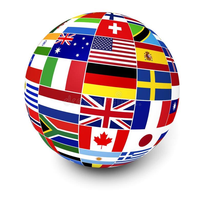 International Business World Flags. Travel, services and international business management concept with a globe and international flags of the world on white stock illustration