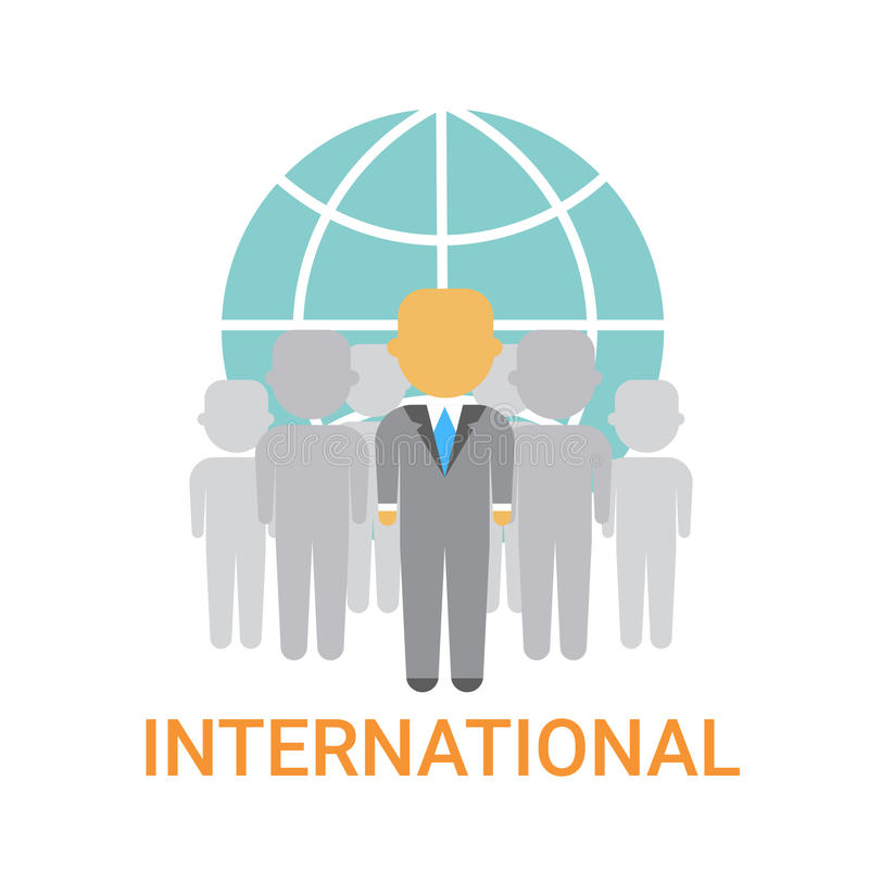 International Businesspeople Team Cooperation Concept Business Company Organization Icon. Flat Vector Illustration vector illustration