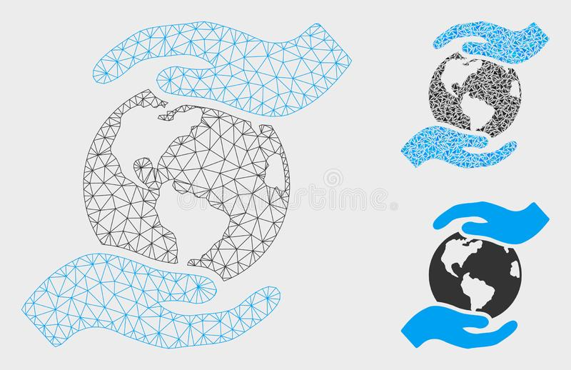 International Care Vector Mesh Carcass Model and Triangle Mosaic Icon stock illustration