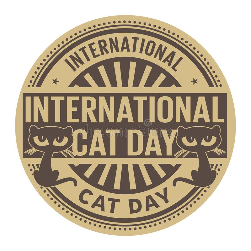 International Cat Day, abstract rubber stamp vector illustration
