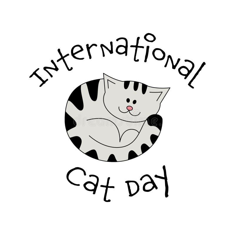 International Cat Day Vector Card Illustration With Lovely Cartoon Style Kitten Cartoon Invitation On Light Backdrop Stock Vector Illustration Of Funny Card 173326547