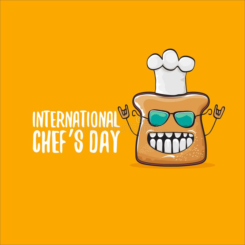 International chef day greeting card or banner with vector funny cartoon chef bread with cheaf hat isolated on orange stock illustration