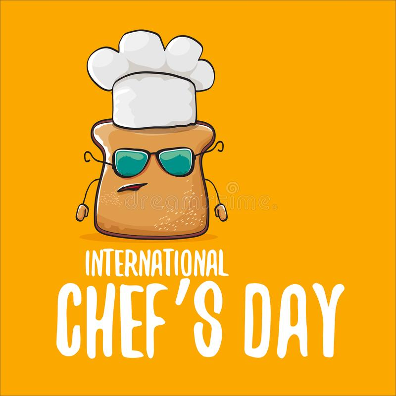International chef day greeting card or banner with vector funny cartoon chef bread with cheaf hat isolated on orange royalty free illustration