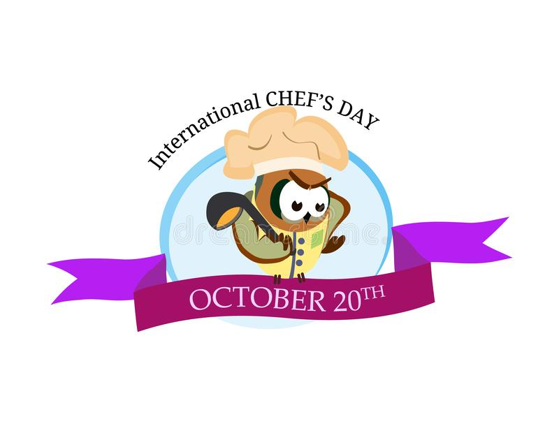 International chef day greeting card. Vector funny cartoon chef owl with hat on isolated background. vector illustration