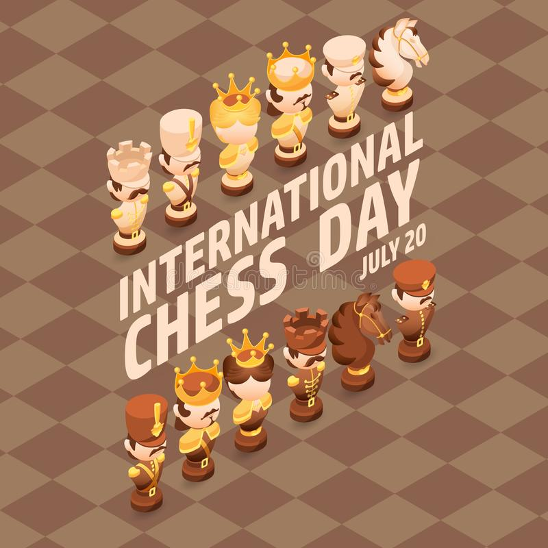 International Chess Day card. Isometric cartoon chess pieces. royalty free illustration