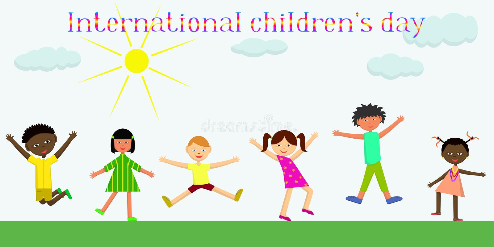International children`s day. Vector flat images royalty free illustration