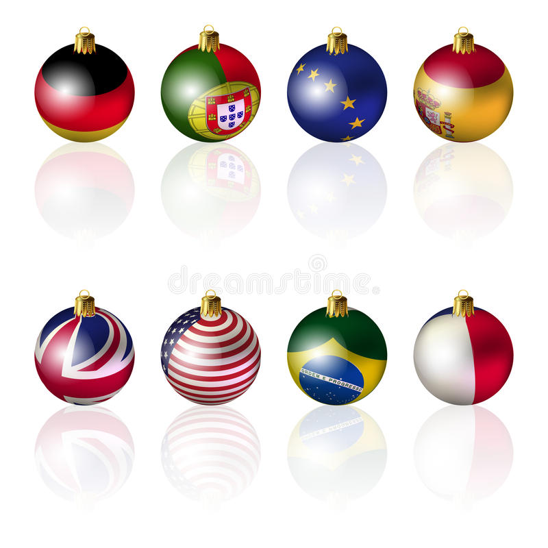 Download International Christmas Balls On White Ba Stock Illustration - Illustration: 26524027