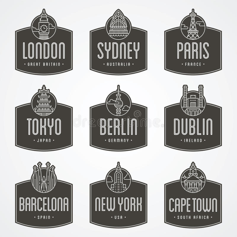 International City Badges Stock Photo