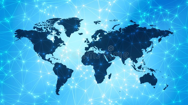 International communication background with connected lines and dots on world map. Connected dots with lines and graphic world map, creative abstract background stock image