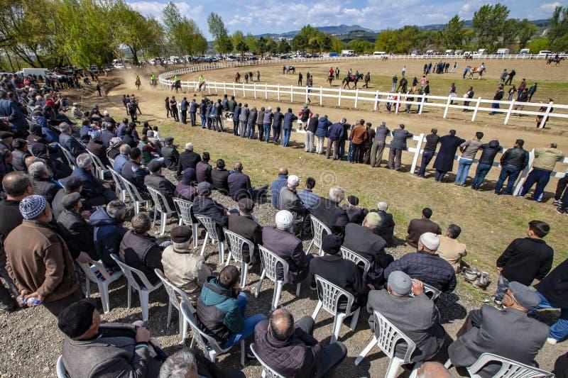 International Conquering Festival Rahvan Horse Racing. Bursa, Turkey - APRIL 21, 2019; XV. Osmangazi International Conquering Festival Rahvan Horse Racing in stock image