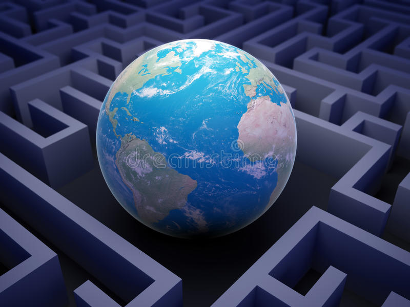 International cooperation concept. Abstract globe inside a maze - International cooperation concept stock illustration