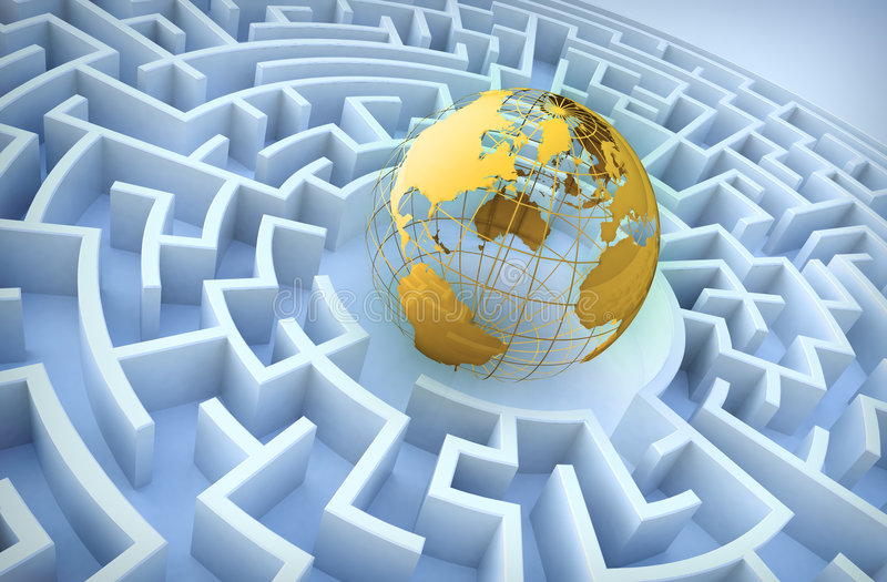 International cooperation concept. World in a maze royalty free illustration